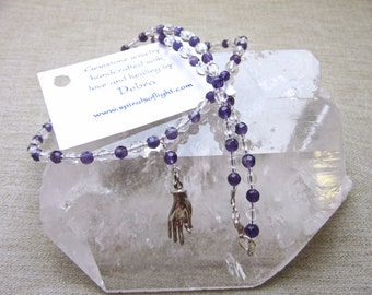 Sterling Silver Mudra Hand Necklace with Amethyst and Clear Quartz for Yoga and Meditation