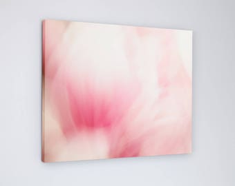 Abstract Pink Magnolia Flower Photograph on Canvas for Baby Girls Bedroom or Nursery - Large Nature Picture for Spring Decor