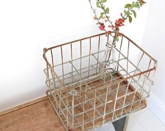 Vintage Metal Milk Crate Basket