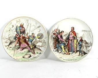"""2 French antique plates """"Nos gloires militaires"""" faience de Creil Montereau, collector plate, display plate, military plate, French antiques"""