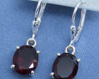 10x8mm Natural Garnet Earrings - Leverback - Sterling Silver - Oval - Large - 171501 - Free Shipping