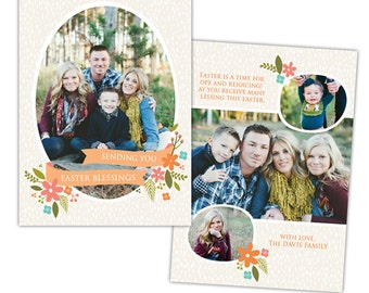 INSTANT DOWNLOAD - 5x7 Easter Card - Photoshop template - E994