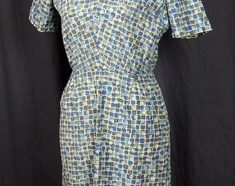 True Vintage 1940s/1950s Blue and Gray Abstract Design Dress