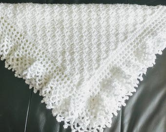 Flo's Lacy baby Afghan, Christening Shawl, Crochet Pattern, baby blanket, lace edging, first blanket, heirloom, baby blanket, gift, shower