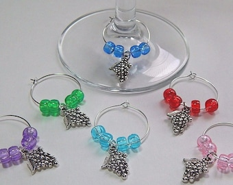 Wine Glass Charms Drink Markers Tibetan Silver Charm Rings Grapes Set Of 6 Wine Rings