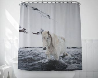 Horse shower curtain, Icelandic horse, Bath accessories, Home gifts, Iceland, Photography, White shower curtain, Polyester, Fabric. SV043