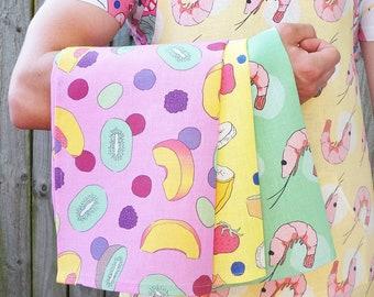 Tea Towel: 100% Linen, Australian Made, 'Fruit', 2 patterns available