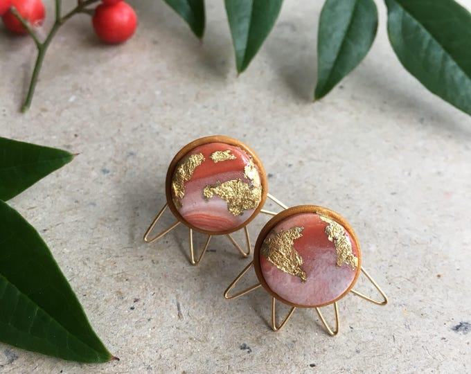 RAY STUD EARRINGS// Handmade marble polymer clay studs// white and terra-cotta with gold foil & wire work trim