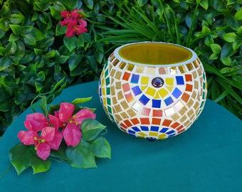 Candle holder. Artisan mosaic candle holder
