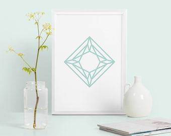 Diamond abstract geometric print, mint green geometric poster, abstract home decor, diamond shape print, modern minimalist print