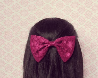 Plum Lace Hair Bow - French Barrette, Dressy and Romantic Lace Hair Bow, Girly Hair Bow
