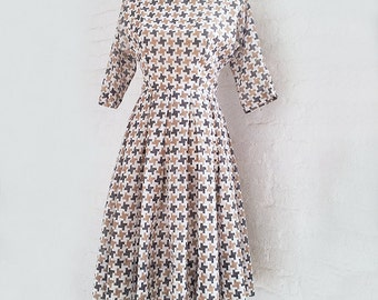 1950s Black White Check Fit and Flare Dress 50s Vintage Tan Houndstooth Jonathan Logan Rockabilly Full Pleated Skirt Small Medium Day Dress