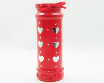 Upcycled Glass Jar | Decorative Jar | Bathroom Storage | Bedroom Decor | Cute Vase | Mothers Day Gift | Romantic Gift - Love Hearts