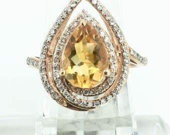 10K Rose Gold 1.7ct Citrine Center Stone Ring