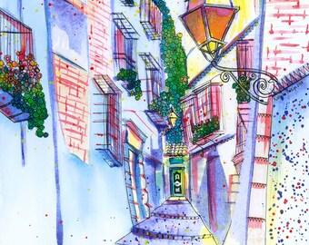 Granada Print: Cuesta de San Gregorio, Albaicín, Granada, Spain