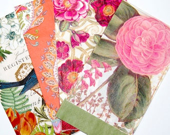 Floral decoupage napkin set decoupage paper decorative paper floral decoupage napkin set 4 brilliant floral paper napkins for decoupage collage scrapbooking and paper craft projects mightylinksfo