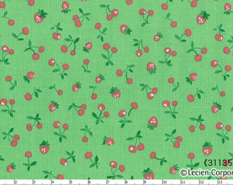 HALF YARD Lecien - Old New 30s Collection- Strawberries and Cherries on Green - Pink Red Green - Japanese