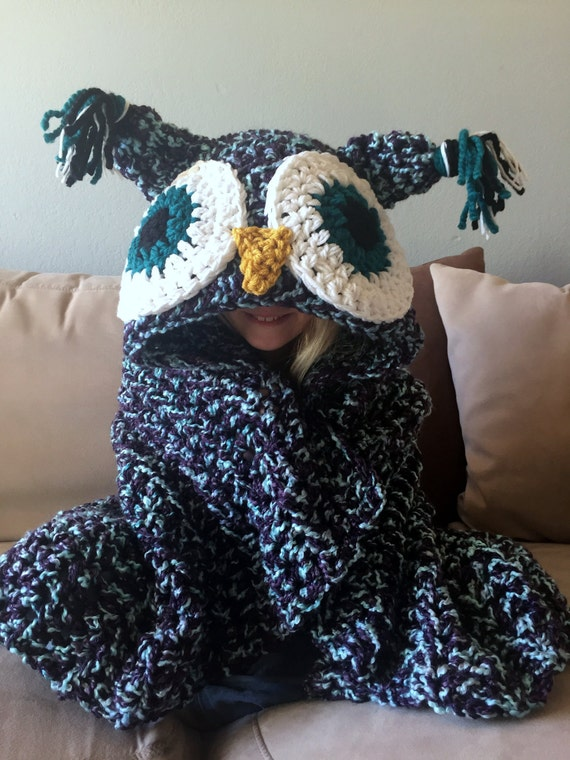 Hooded Owl Blanket Owl Hood Crochet Blanket Handmade