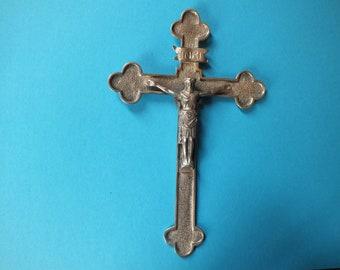 Antique Massive Silver Large priest Crucifix Pendant