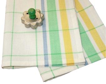 Vintage Style Tea Towel | Yellow Green Striped Kitchen Towel