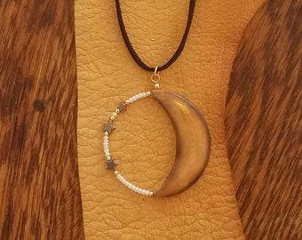 Antler Jewelry, Moon, Star, Pendant, Deer Antler, Necklace