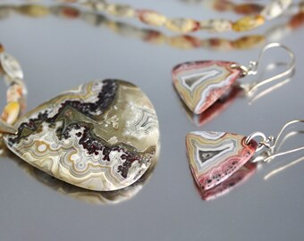 Crazy Lace Agate Jewelry - Necklace & Earring Set- Agate Jewelry - Sterling Silver