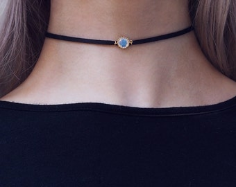 FREYA. Moonstone Leather Choker in Gold