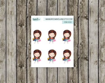 535 Shopping / Dark Haired Girls // Matte Repositionable Stickers // Any Planner // EC Palette