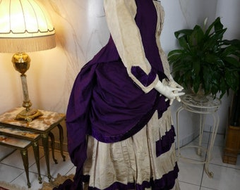 1880s Bustle Day Dress, antique dress, antique gown, Victorian dress
