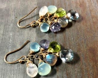 Gemstone Earrings, Cluster Earrings, Blue Earrings, Multi Stone Earrings, Moonstone Earrings, Chalcedony Earrings, Gold Earrings, Gift, Boho