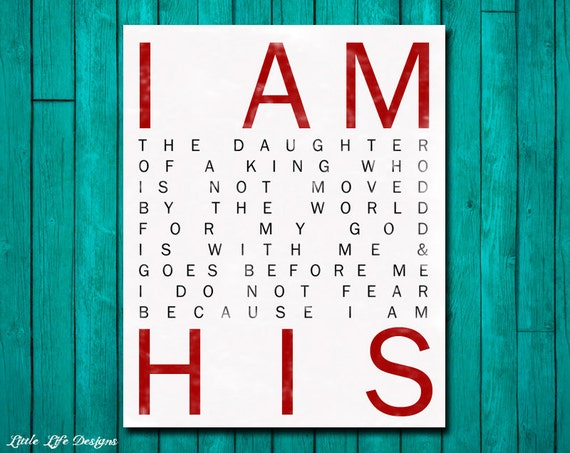 I Am His. Christian Wall Art. Nursery Wall Art. Children's