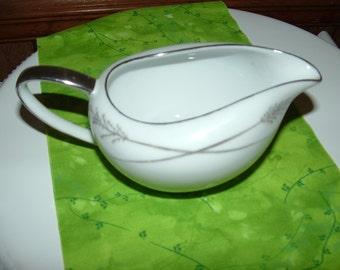 SALE.......Mikasa GRACE- INE Creamer, White with Silver Trim and Wheat Design , China Creamer