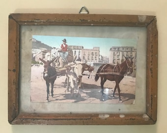 Old Antique Hand Made Wooden Frame With Mirror Color Photograph Print kotsa 61