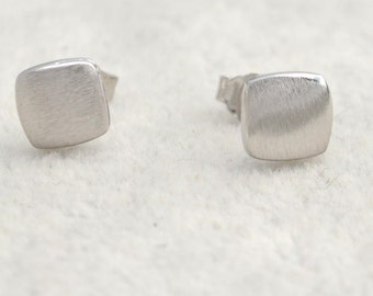 Sterling Silver Square Stud Earrings Textured Finish e68