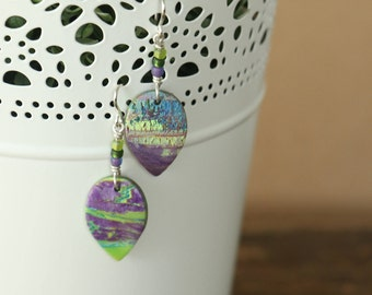 Teardrop Marbled Earrings with Raised Texture - Purple and Green Hues