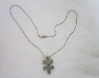 """Retro Sterling Silver Snake Chain Necklace with Puzzle piece Pendant  """" Possibilities I Am """""""