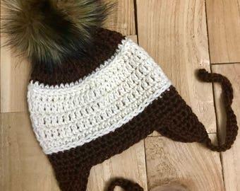 Crochet Earflap Hat, Baby Girl Winter Hat with Ear Flaps, Crochet Hat with Ear Flaps, Baby Earflap Hat, Earflap Hat, Crochet Hat, Earflaps