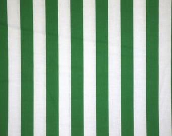 Kelly Green and White Stripe Print Pure Cotton Fabric--By the Yard