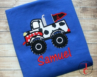 Monster Truck Shirt - Monster Truck Birthday, Monster Truck Party, Baby Boy Coming Home Outfit, Monster Mutt Shirt, Dalmatian Party