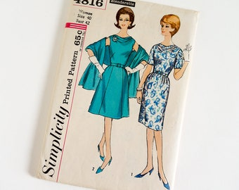 Vintage 1960s Womens Size 40 Dress with Two Skirts and Stole Simplicity Sewing Pattern 4816 FACTORY Folds / b42 w34 / Slim or Full Skirt