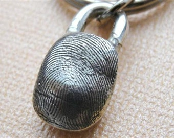 Custom Fingerprint Keychain Thumbprint Key Chain in Sterling Silver Personalized