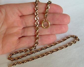 """Antique 16.9 Grams 18.75"""" Gold Chain Necklace, 1800's Antique Gold Chain, Antique Gold Chain, Gold Book Chain, Gold Watch Chain"""
