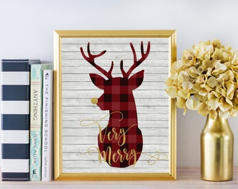 Christmas Decor - Very Merry - Buffalo Plaid - Christmas Deer - Christmas Decorations - Christmas Print - Christmas art - Rustic Christmas