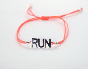 RUN Charm Adjustable String Bracelet
