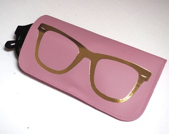 Pink and gold leather sunglasses case, pink and gold, glasses print sunglasses case, sunglasses pouch, leather sunglass case, gift for her