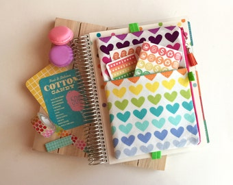 Rainbow hearts -  rainbow planner cover -  washi tape organizer - pen pouch - heart planner band - rainbow planner cover - planner band .