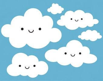 Happy Cloud Decals for Kids Baby Nursery Children