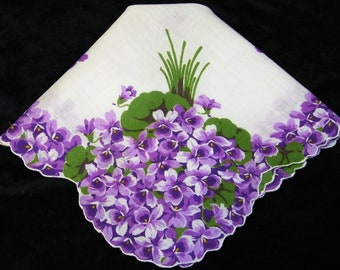 EXC Vintage 50' Scalloped Purple Violets Floral Wedding Favor, Banner, Pocket Square Handkerchief - 1196