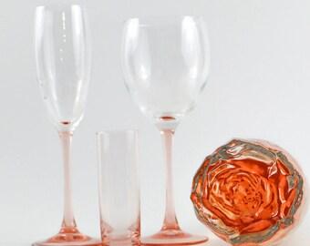 One elegant shot glasses Hostess gift Bachelorette party decor vintage barware barcart home decor 1960s depression pink