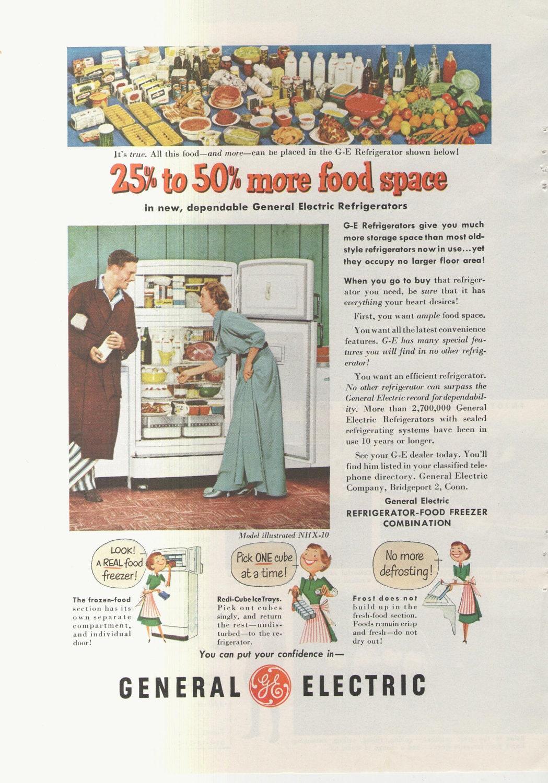 1951 Werbung General Electric Kühlschrank 50er Jahre Küche